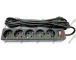 Удлинитель DEFENDER 5 m, 5 socket, ES, Black